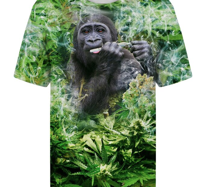 T-shirt with Short Sleeve Smiling Gorilla