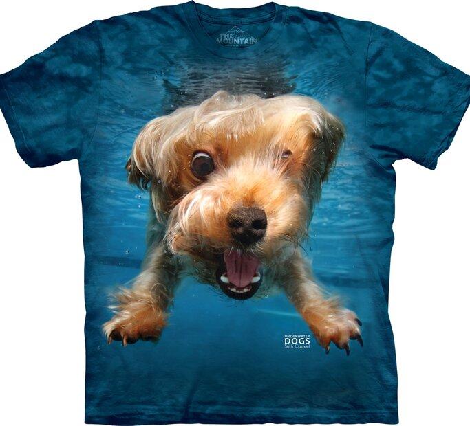 Detské tričko Hravý psík pod vodou yorkshirsky teriér - modré
