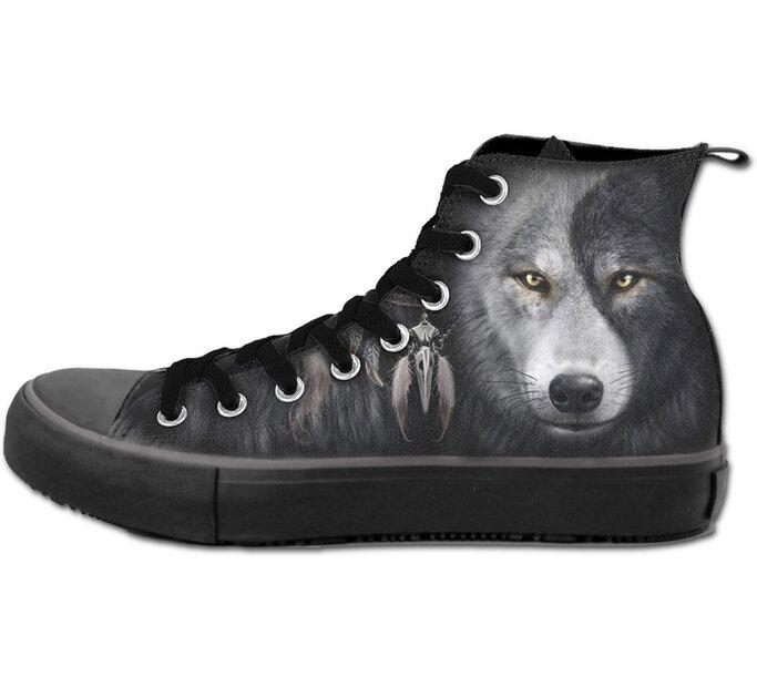 Dámske čierne tenisky Tvár vlka