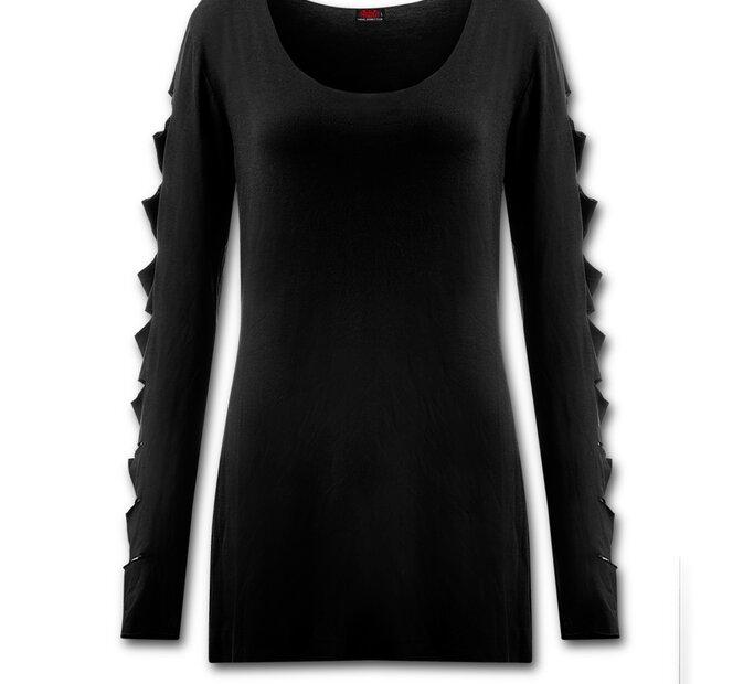 Ladies' Slashed Long Sleeve Black