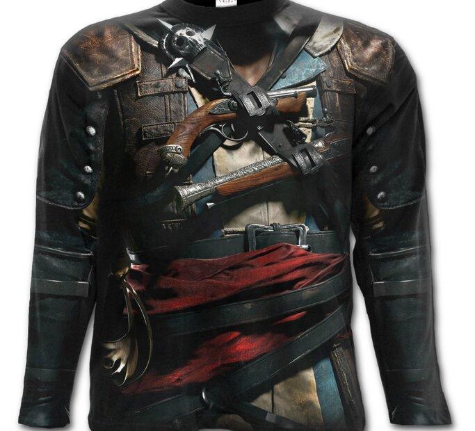 Dlhý rukáv s motívom Assassins Creed Black Flag