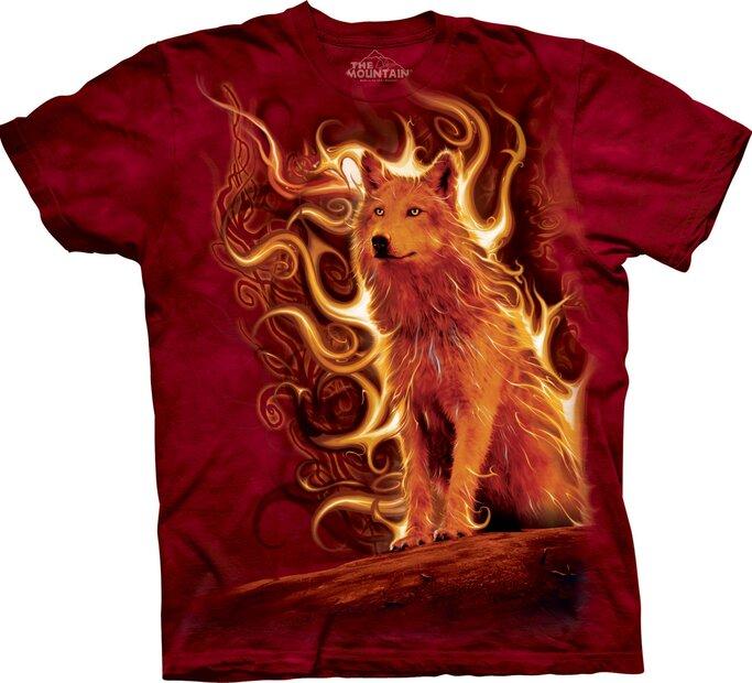 T-Shirt Wolf im Feuer