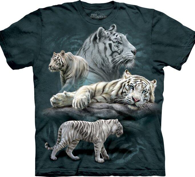 T-Shirt Collage mit weißen Tigern