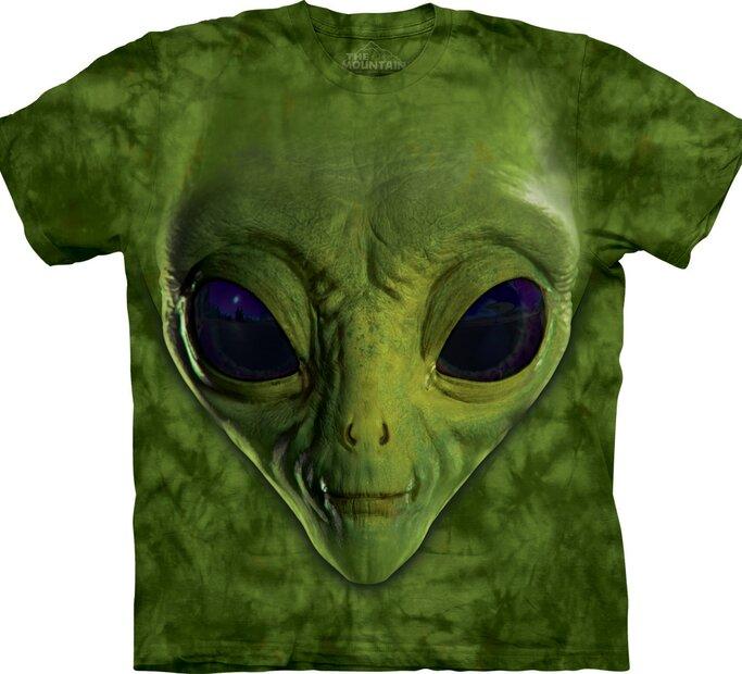T-Shirt Grüner Alien Gesicht