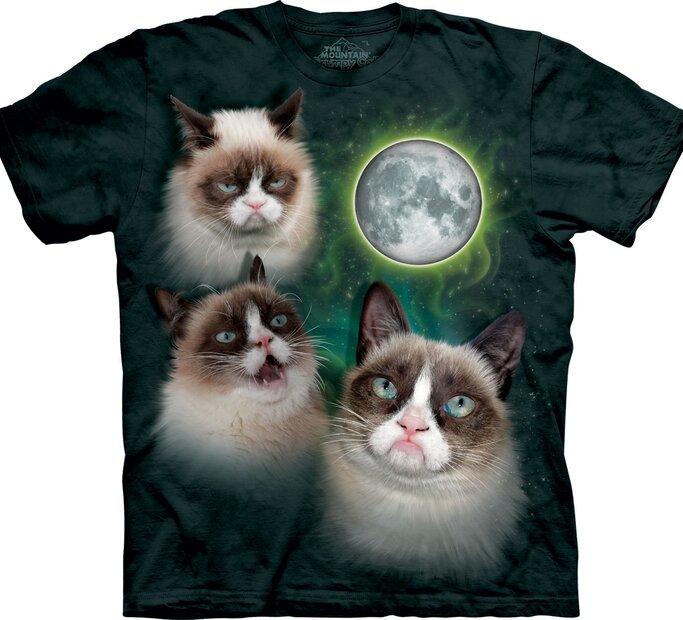 T-Shirt Grumpy Cats beim Mond