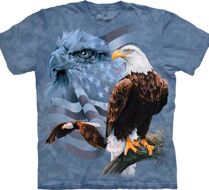 T-Shirt Adler mit ausgeblichener Flagge