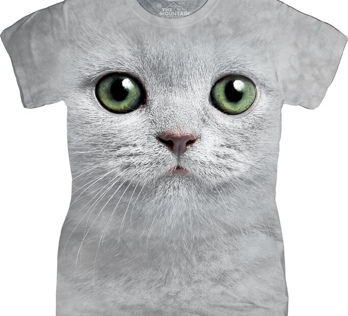Damen T-Shirt Katze mit grünen Augen