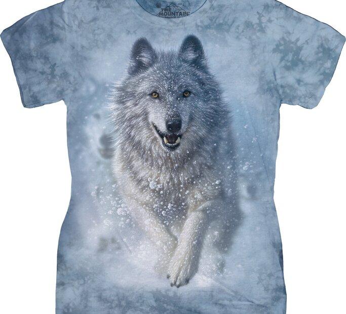 Damen T-Shirt Schneewolf