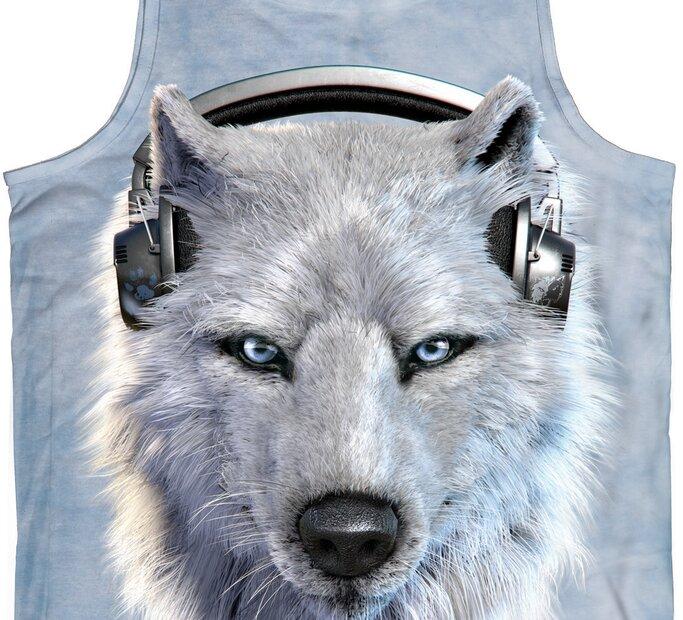 Tílko Bílý vlk se sluchátky