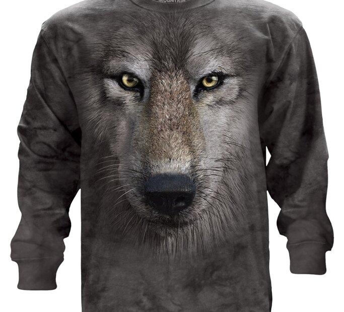 Dlouhý rukáv Obličej vlka