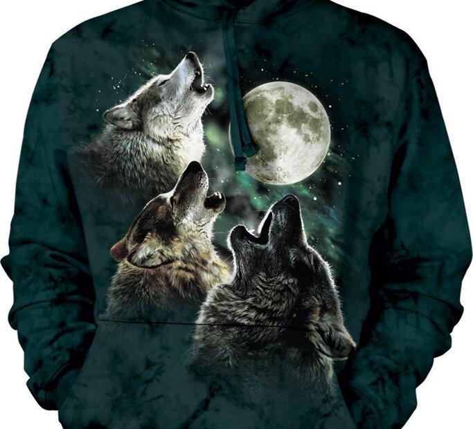 Sweatshirt mit Kapuze Drei den Mond anheulende Wölfe