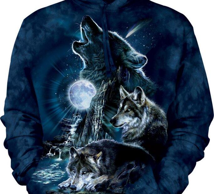Mikina s kapucňou Vytie vlkov na mesiac