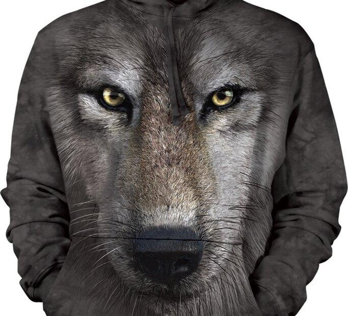 Mikina s kapucňou Vlk 3D