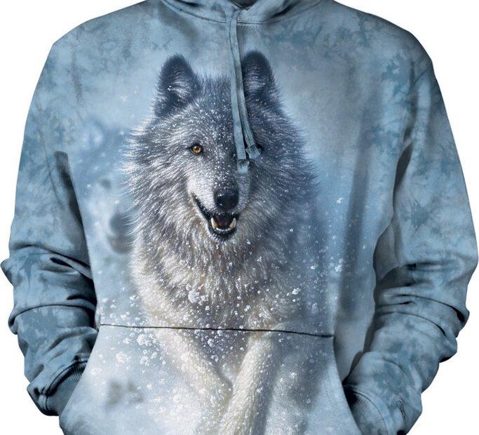 Mikina s kapucňou Biely vlk