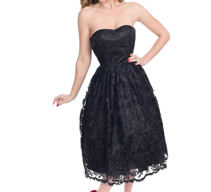 Čierne retro pin up šaty s čipkou
