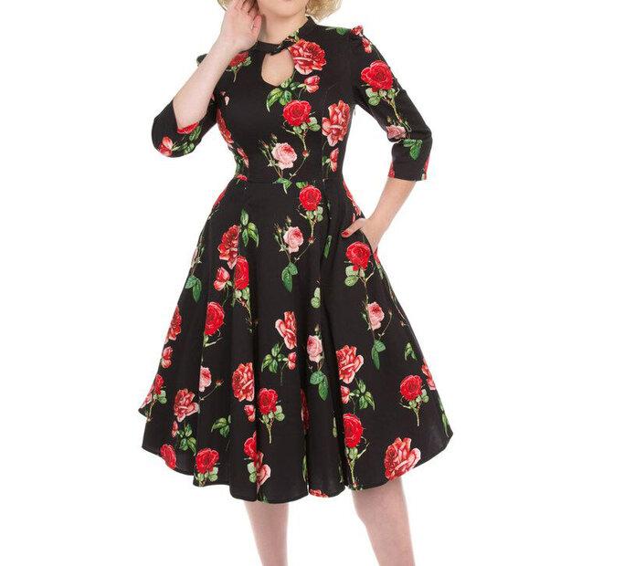 Čierne retro pin up šaty s rukávom Červené ruže