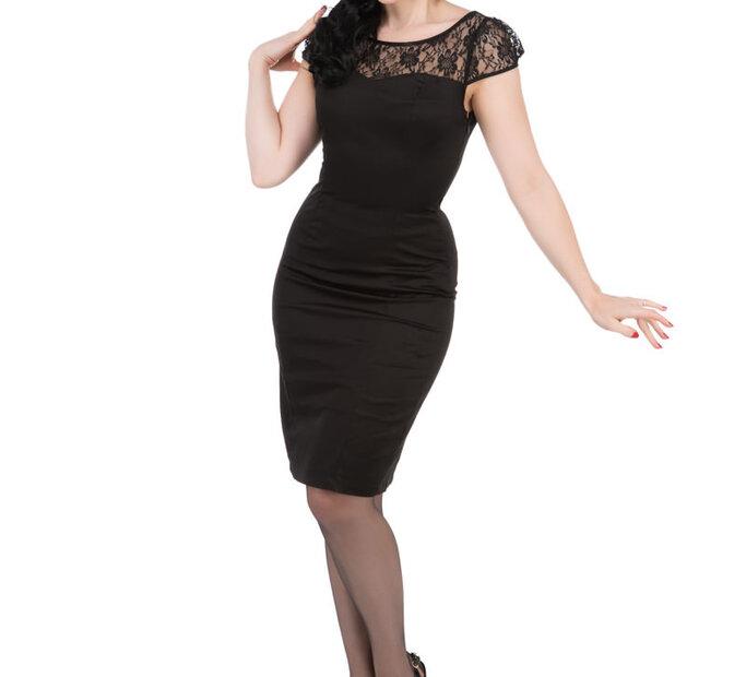 Čierne retro puzdrové šaty