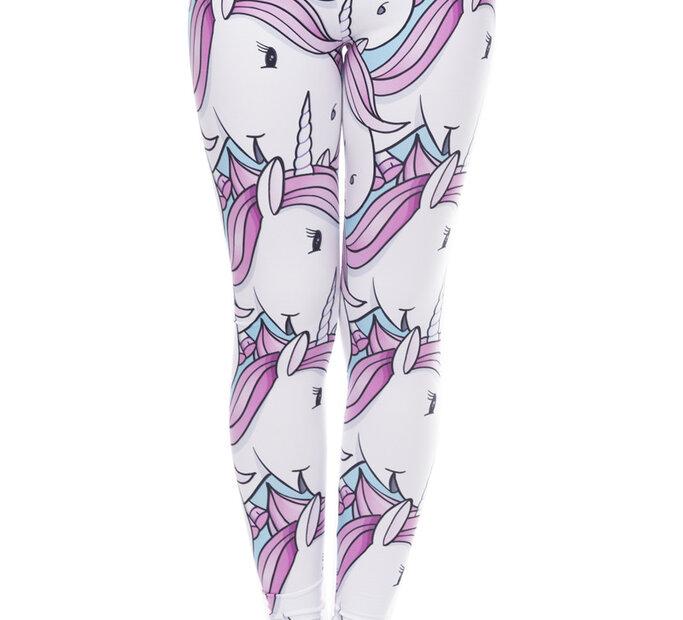 Damskie elastyczne legginsy Biały jednorożec