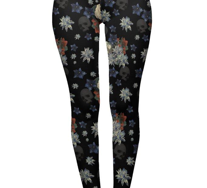 Damen Leggings elastisch mit hoher Taille Dunkle Blumen
