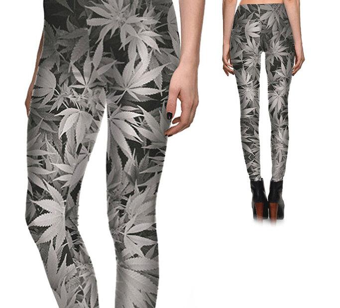 Damskie elastyczne legginsy Szara Mary Jane