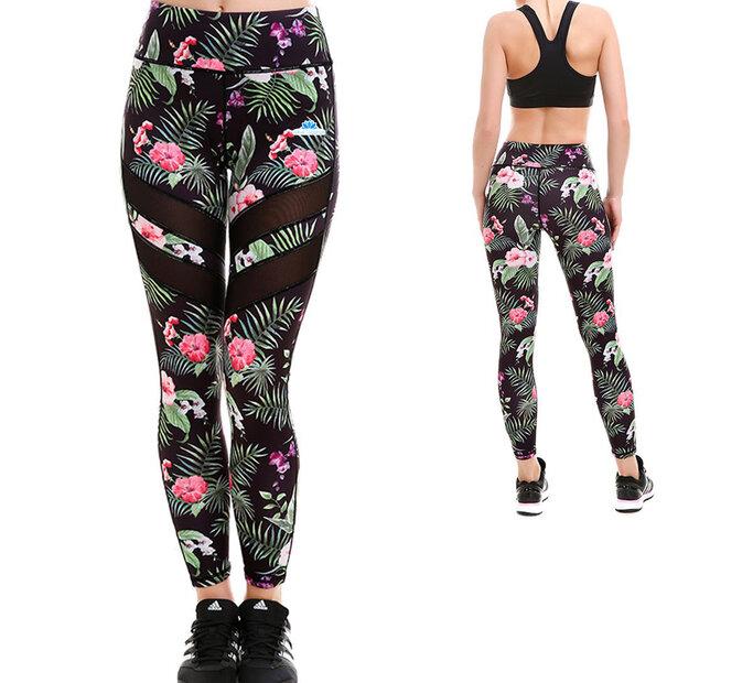 Ladies' Sport Mesh Leggings - Tropical Flowers