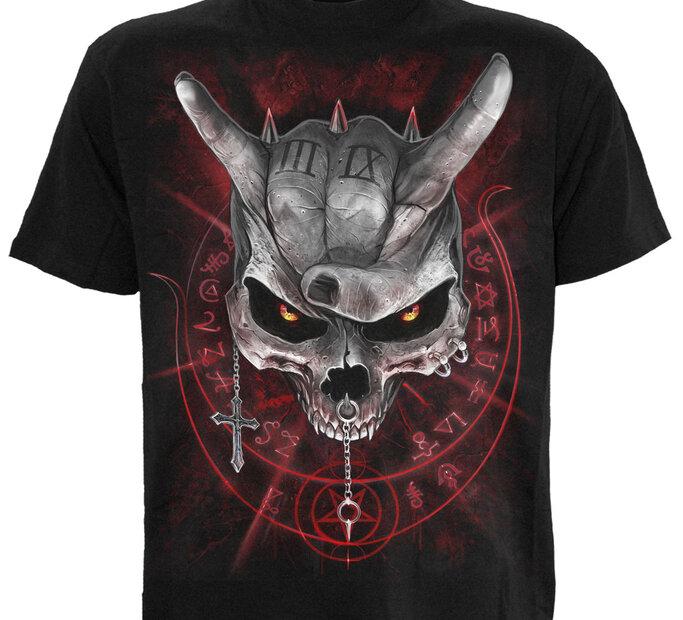 Detské čierne tričko Lebka s rohami