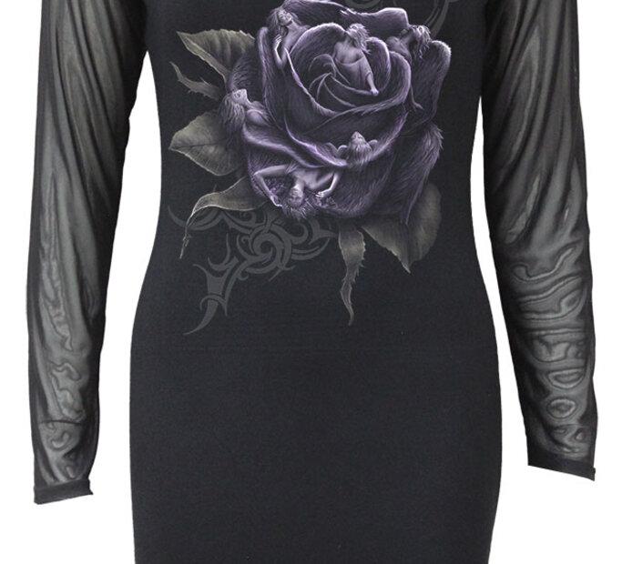 Čipkované šaty s dlhým rukávom s motívom Fialová ruža