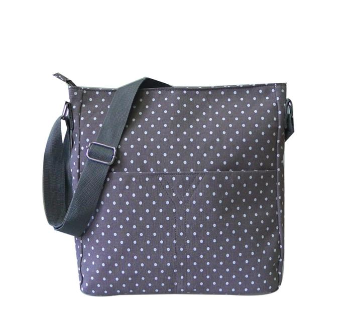 Crossbody sivá taška s bodkami
