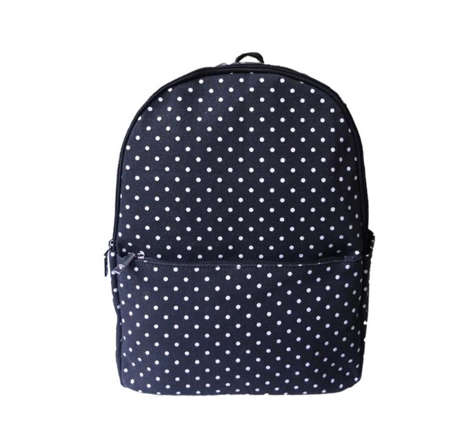 Čierny bodkovaný ruksak s jedným vreckom