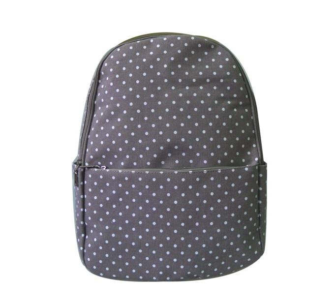 Sivý bodkovaný ruksak s jedným vreckom