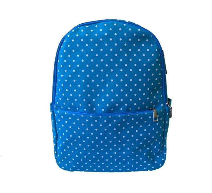 Modrý bodkovaný ruksak s jedným vreckom