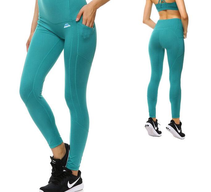 Kékes-zöld női sportos leggings zsebbel