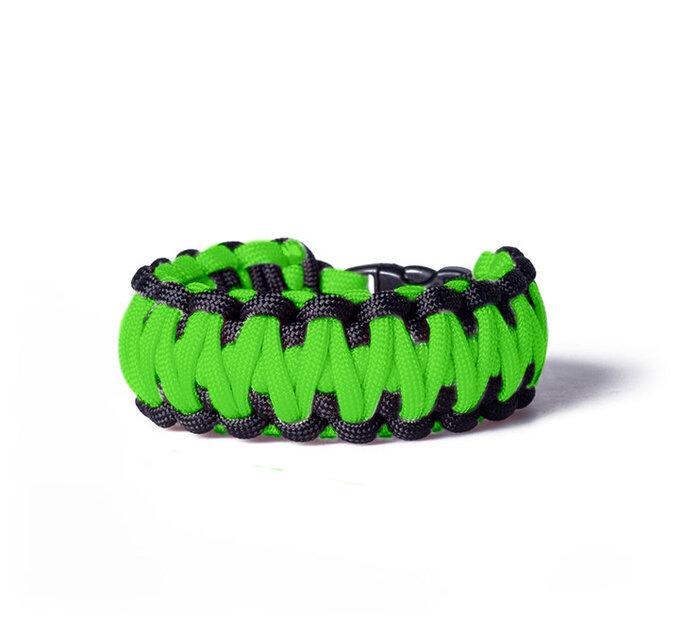 Paracord survival náramok - zeleno-čierny