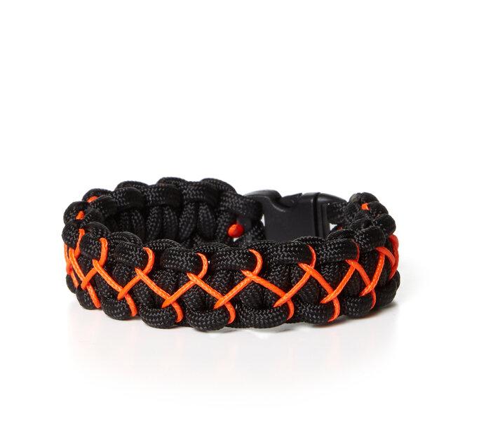 Paramicord survival náramok Kobra X čierno oranžový