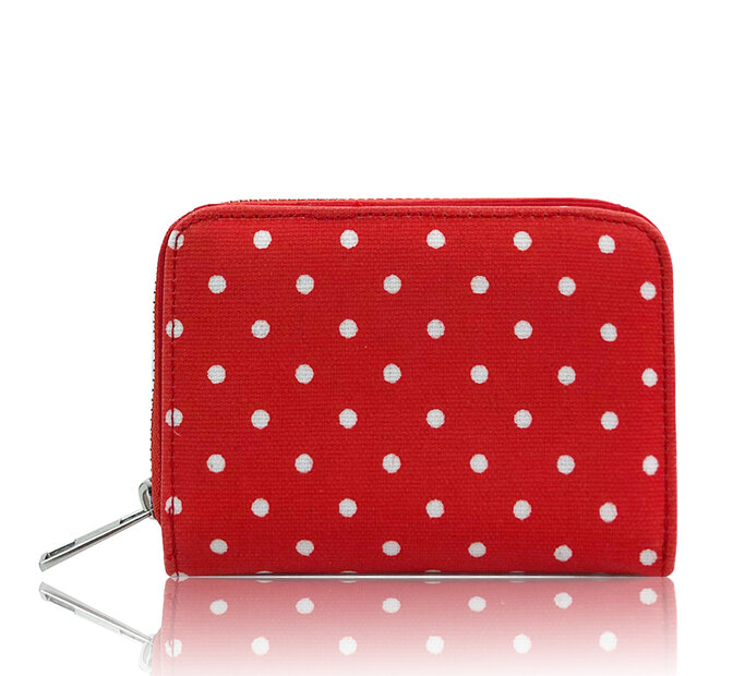 Červená bodkovaná peňaženka