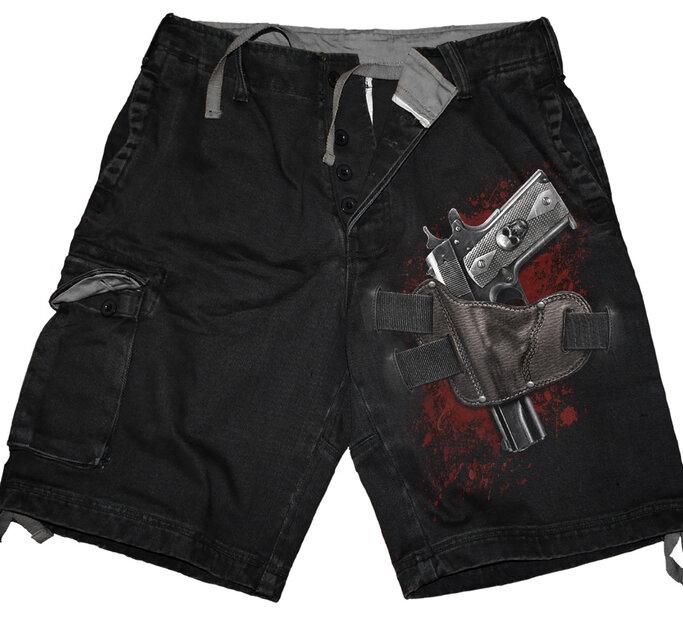 Pánske krátke nohavice s motívom Zbraň
