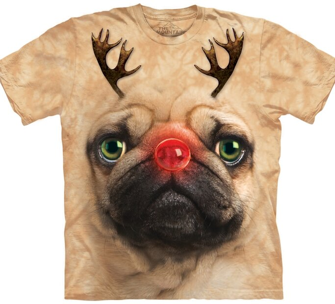 Tricou Pug Reindeer