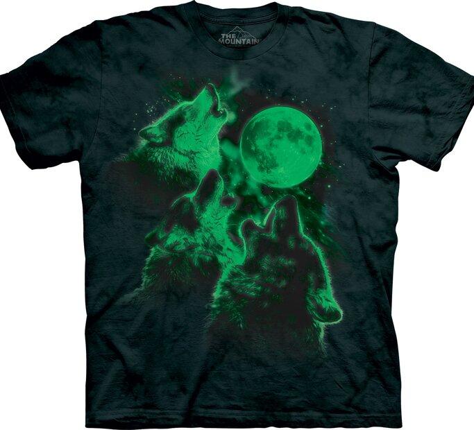 T-Shirt leuchtende Wölfe und Volllmond