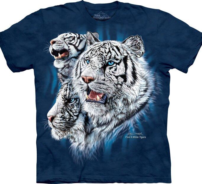 Találd meg a 9 fehér tigrist póló