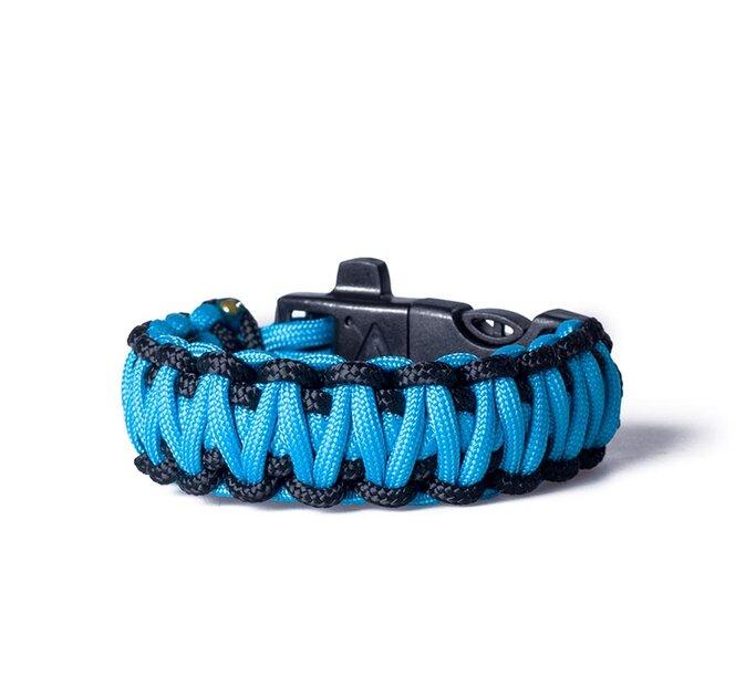 Paracord survival náramok - modro-čierny s magnéziovým kresadlom