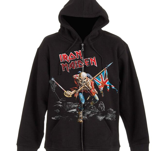 Čierna mikina na zips Iron Maiden Scuffed Trooper