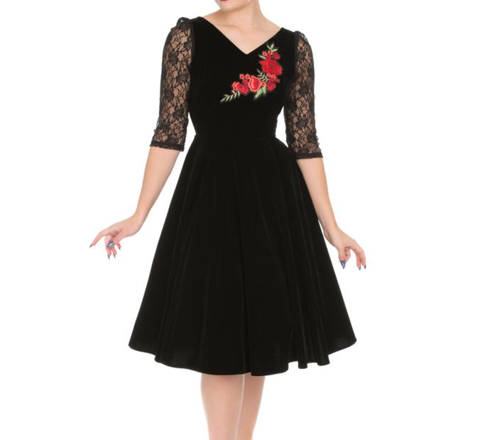 Retro pin up šaty s rukávom Ruža s čipkou