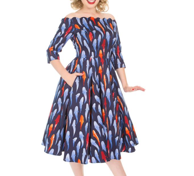 Retro pin up šaty s rukávom Rybky