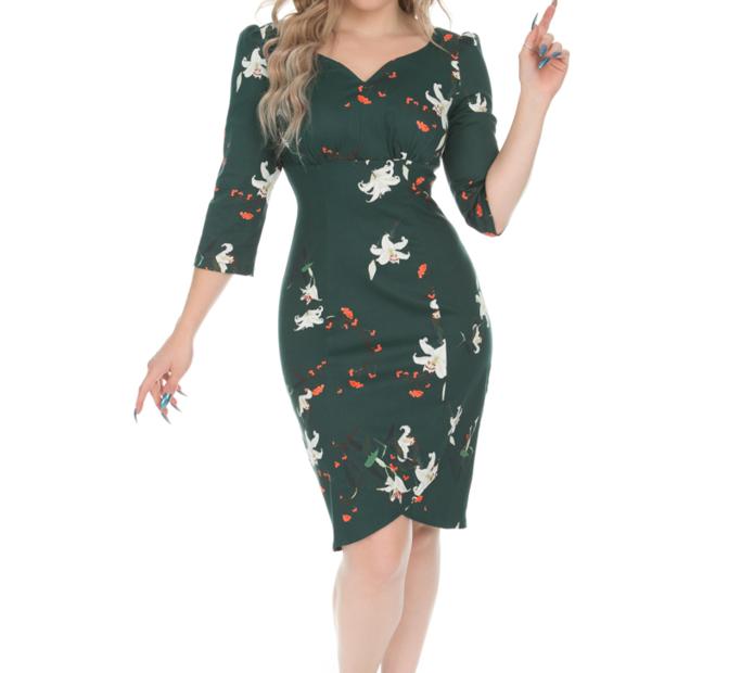 Retro puzdrové šaty s rukávom Ľalia