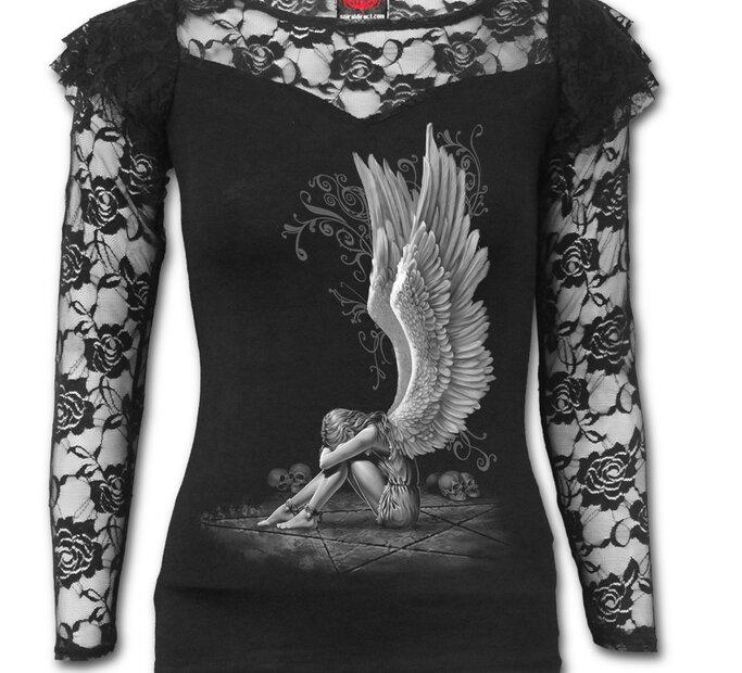 Dámske tričko s čipkou Nariekajúci anjel