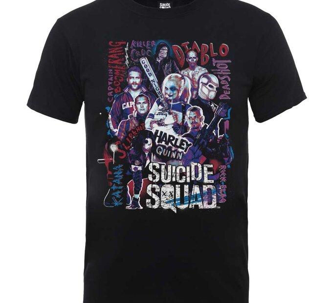 Čierne Tričko DC Comics Suicide Squad Harley's Character Collage