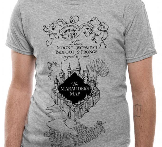 Póló Harry Potter Tekergők térképe szürke