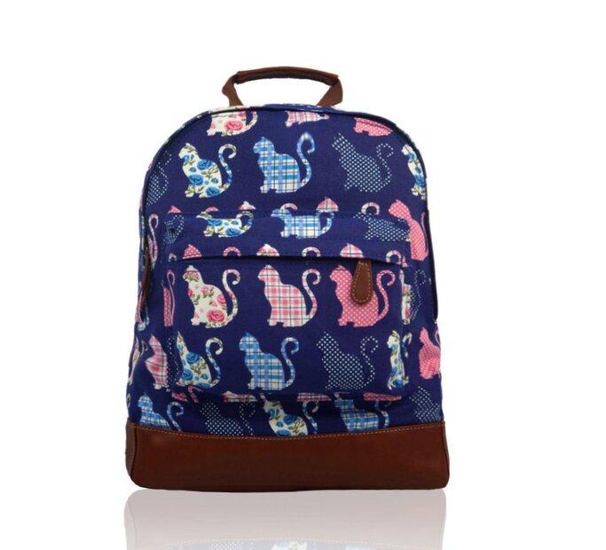 Tmavomodrý ruksak s jedným vreckom Retro mačky