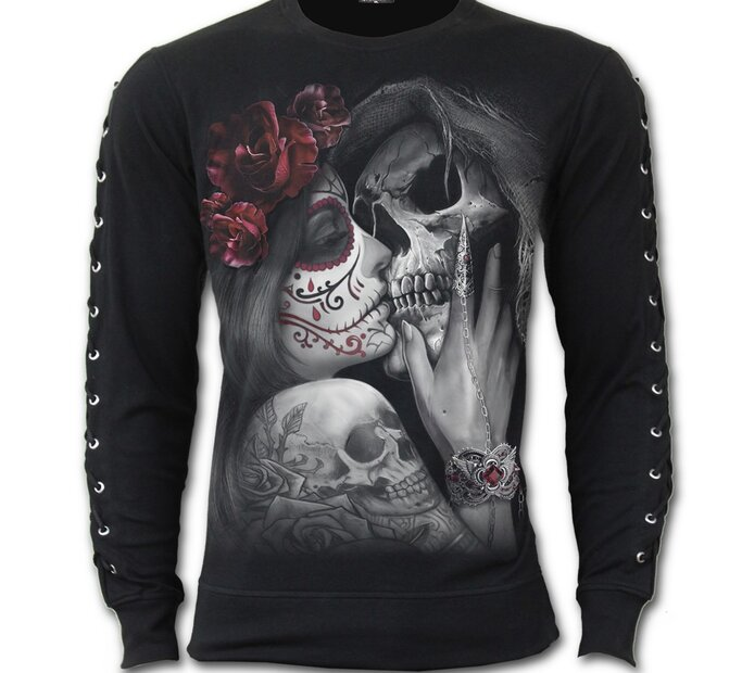 Tričko s kovovými aplikáciami na rukávoch s motívom Mŕtvy bozk