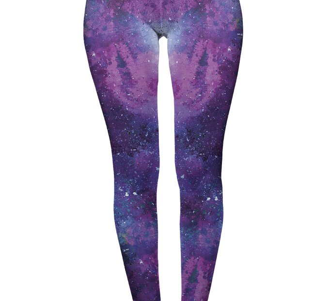 Damskie elastyczne legginsy z wysokim pasem Głębia kosmosu